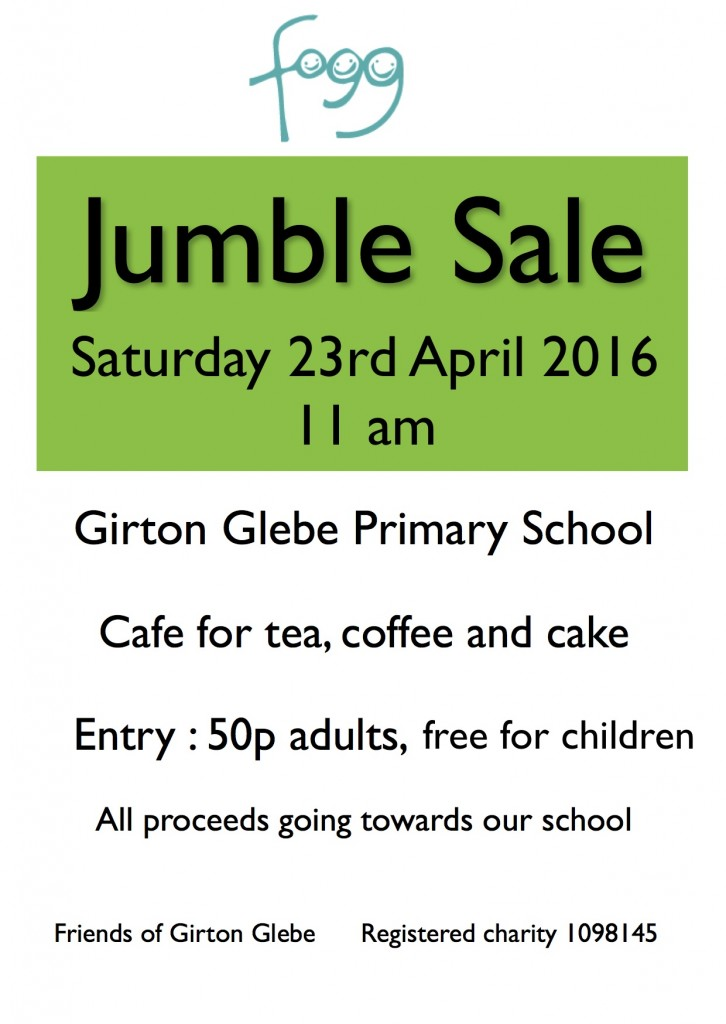 Jumble sale GPN advert spring 16